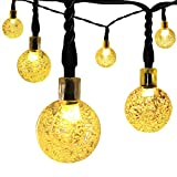 Globe Outdoor Solar String Lights, LDesign 20 Feet 30LED Fairy Bubble Crystal Ball Lights Decorative Lighting for Indoor, Garden, Home, Patio, Lawn, Party and Holiday Decorations - Warm White