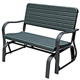 Sundale Outdoor Outdoor Deluxe 2 Person Loveseat Glider Bench Chair Patio Porch Swing with Rocker, Dark Green, 18(L) x 45(W) x 34(H) Inches,
