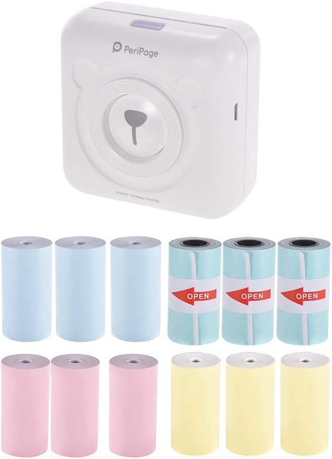 Aibecy PeriPage Mini Pocket Inalámbrico BT Impresora térmica Etiqueta de Imagen Memo Recibo Papel Impresora + 9 Rollos de Color Papel térmico + 3 Rollos Papel Adhesivo Adhesivo 57 * 30mm