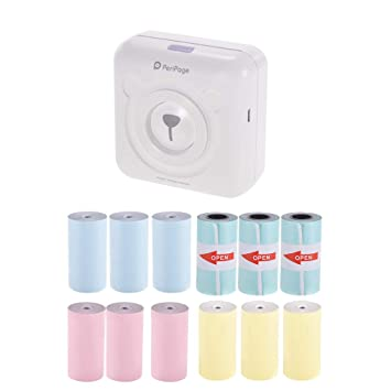 Aibecy PeriPage Mini Pocket Inalámbrico BT Impresora térmica Etiqueta de Imagen Memo Recibo Papel Impresora + 9 Rollos de Color Papel térmico + 3 ...