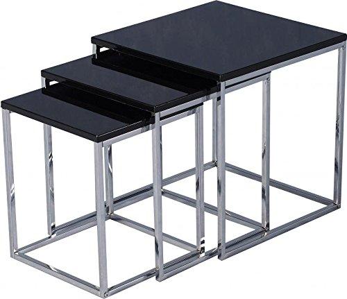 Seconique Charisma Nest of Tables - Black Gloss/Chrome 300-303-007