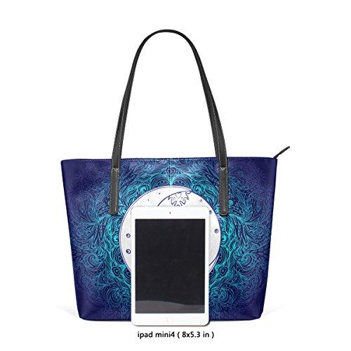 TIZORAX Handbag Handle Sun Moon Bags Shoulder Face PU Women's Mandala Purses Top Leather Colorful Fashion Totes HHBrx4qw