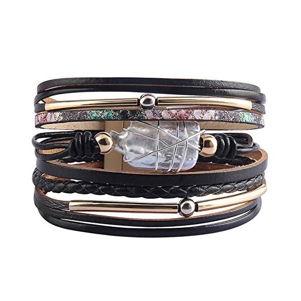 AZORA Womens Leather Cuff Bracelet Baroque Pearl Wrap Bracelets Gorgeous Gold Tube Bangle Handmade Wristbands Jewelry Bohemian Gift for Women, Teen Girls, Mother