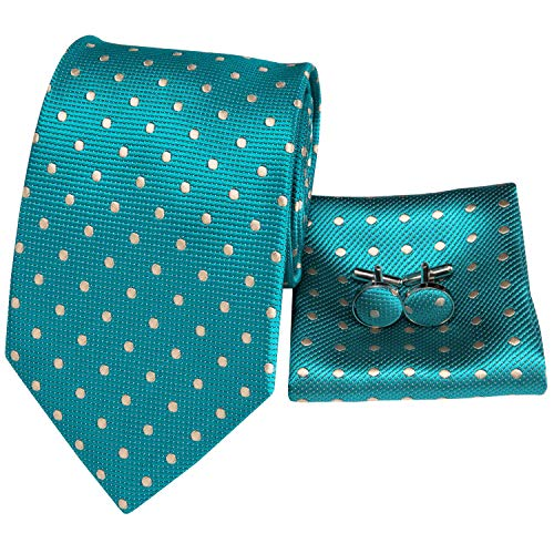 Hi-Tie Classic Mens Teal Polka Dots Tie Necktie Pocket Square Cufflinks Gift Box Set ()