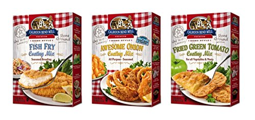 Calhoun Bend Mill All Natural Coating Mix 3 Flavor Variety Bundle, (1) each: Fish Fry, Awesome Onion, Fried Green Tomato (8 Ounces) by Calhoun Bend Mill