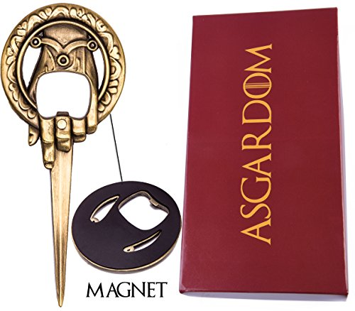 Hand of the King Bottle Opener Merchandise Gift – Cool Fan Game Item In Red'Lannister' Gift Box – Letter & Beer Opener to Loyally Serve The Throne – Perfect Present For Men & Fans