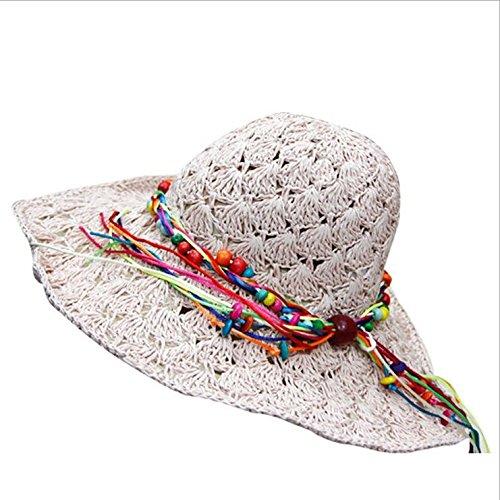 W&P Ladies summer Hat Korea version Sun Hat folding Beach Hat straw hat , pale pink - Pale Straw