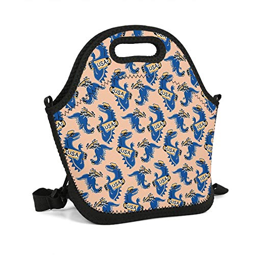 SADAFDEE Lunch boxs Dinosaur New York Van-osaur Blue USA Insulated Neoprene Bag with Lunch Box Waterproof Men and Kids Outdoor Tote Cooler Warm Pouch