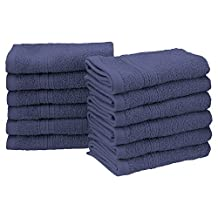 "Superior Eco-Friendly 100% Ringspun Cotton, 12 Piece Face Towel Set (13"" x 13"") in Navy Blue"