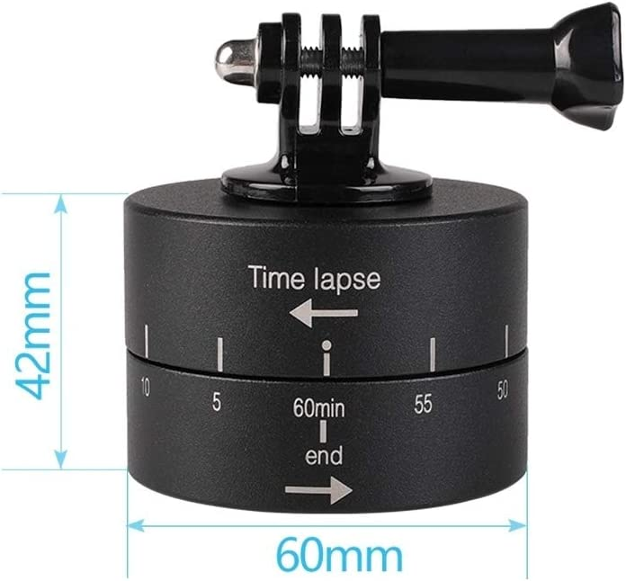 CYcaibang Camera Stand 360 Degree Auto Rotation 60 Transactions Time Lapse Stabilizer Tripod Head Adapter for GoPro Black Color : Black