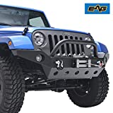 E-Autogrilles EAG 2007-2018 Jeep Wrangler JK Full Width Front Bumper With Fog Lights Hole & Winch Plate