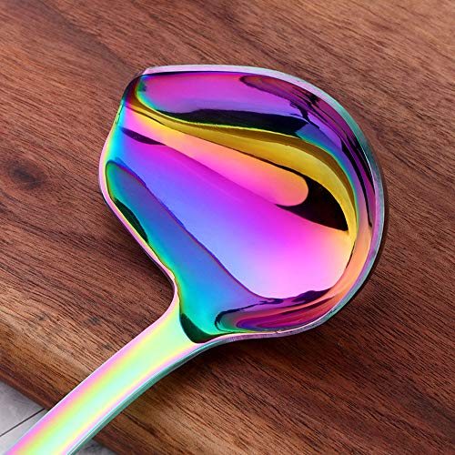 Sauce Ladle, BuyGo Drizzle Spoon with Spout Gravy Soup Ladle, Stainless Steel Kitchen Utensil, Mirror Polish & Dishwasher Safe, 8.67 Inch, Rainbow