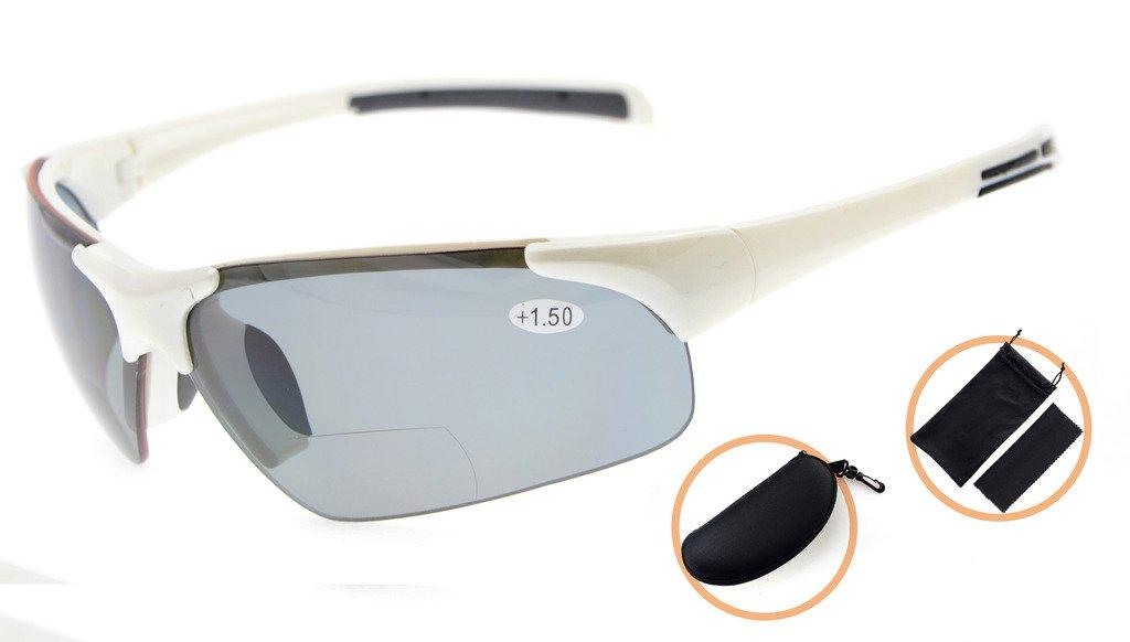 2d4c5de41a2 Gr8Sight Sun Readers Polarized Bifocal Reading Sunglasses Half-Rimless Tinted  Glasses UV 400 Protection Wraparound Designer Style Sports Glasses White  Frame ...