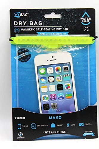 Go Bag Mako Dry Bag #1 Secure Air Tight Self-Sealing Magnetic Waterproof Case to 100 ft. Hermetic Seal Cell Phone Touchscreen Sensitive 7.5'' x 5.75'' Fits iPhone 6,7 8 + Plus (Yellow) by Go Bag (Image #3)