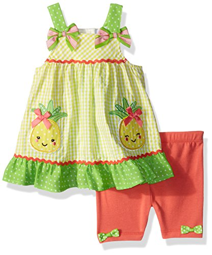 Gingham Girls Shorts - Nannette Baby Girls 2 Piece seer Sucker top and Bike Short Outfit Set, Yellow, 24M