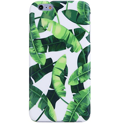 VIVIBIN iPhone 6 Case,iPhone 6s Case,Cute Green Banana Leaves for Men Women Girls Clear Bumper Best Protective Soft Silicone Rubber Glossy TPU Cover Slim Fit Best Phone Case for iPhone 6/iPhone 6s