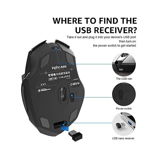 Souris sans Fil, INPHIC Souris Optique Ergonomique sans Fil Rechargeable 2.4G avec récepteur Nano USB pour Ordinateur…