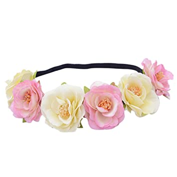 Women's Hair Accessories Fashion Women Bride Big Flowers Headband Bohemian Style Rose Flower Garland Crown Hairband Ladies Beach Holiday Hair Accessories Latest Technology
