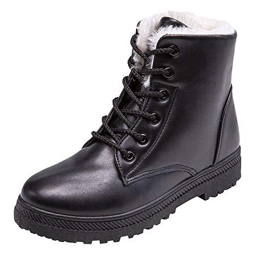 Femmes Élégantes De Neige Bottes Femme À gongzhumm Lacets Cheville Chaussures D'hiver Montantes Plates Noir Hiver 4R3j5LqcA