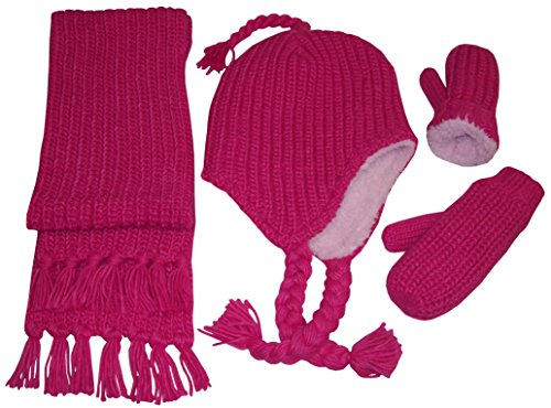 (N'Ice Caps Girls and Infants Bulky Waffle Stitch Hat/Scarf/Mitten Accessory Set (Fuchsia,)