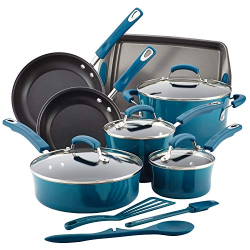 Rachael Ray Brights Nonstick Cookware Set / Pots and Pans Set – 14 Piece, Marine Blue