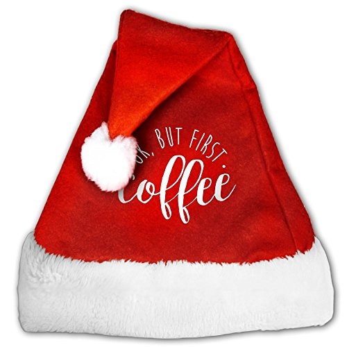 Gask-L OK But First Coffee Santa Hat For Men & Women Velvet Christmas Hat With Plush Trim & Comfort Liner (Forrest Gump Family Costume)