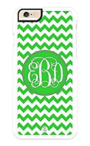 iZERCASE iPhone 6 PLUS Case Monogram Personalized Green Chevron Pattern RUBBER CASE - Fits iPhone 6 PLUS T-Mobile, AT&T, Sprint, Verizon and International (White)