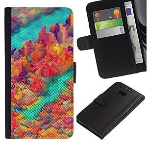LECELL--Cuero de la tarjeta la carpeta del tirón Smartphone Slots Protección Holder For HTC One M8 -- PIXEL COLORIDO DEL BLOQUE DE LA CIUDAD --