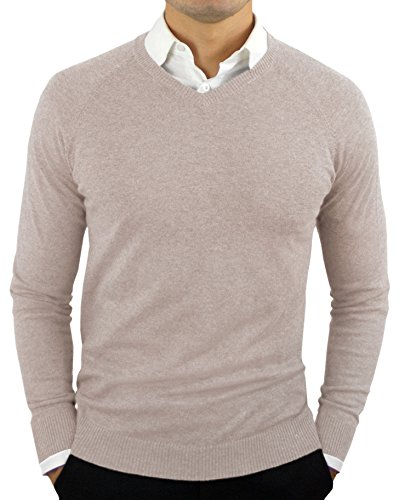 Comfortably Collared Men's Perfect Slim Fit V-Neck Sweater Large Beige