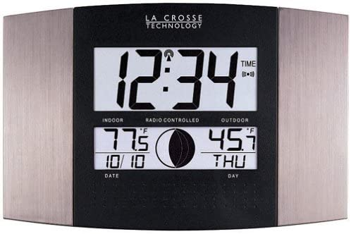 La Crosse Technology WS-8117U-IT-AL Atomic Wall Clock with Indoor Outdoor Temperature