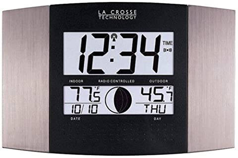 La Crosse Technology WS-8117U-IT-AL Atomic Wall Clock with Indoor/Outdoor Temperature - 8 Digital Stations