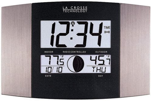 La Crosse Technology WS-8117U-IT-AL Atomic Wall Clock with Indoor/Outdoor Temperature (Outdoor Clocks And Temperature Gauges)