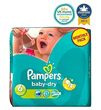 Pampers Baby-Dry Tamaño De Pañales 6 Mensual Del Pack - 124 Pañales