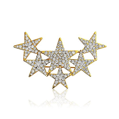 - Bling Jewelry Large Statement Fashion Patriotic 6 Crystal Stars Brooch Pin for Women Gold Plated