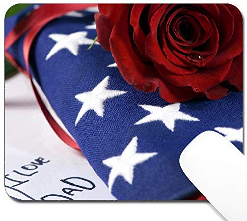 (MSD Mouse Pad with Design - Non-Slip Gaming Mouse Pad - Image ID: 623626 A Lone red Rose Lying on top of a Folded American Flag A Single Tear d)