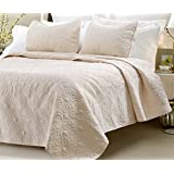 Web Linens Quilted Coverlet Set Ivory-King, 3 Piece