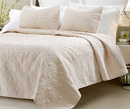 - Oversized - 3 Piece 100% Cotton Quilted Coverlet Set - Ivory - Full/Queen 90 Inches x 96 Inches Wrinkle/Fade Resistant Light Weight Luxurious All Season Super Soft Machine Washable