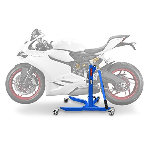 Central Stand - Motorbike Central Stand Paddock Lift ConStands Power Ducati 899 Panigale 14-15, Adaptor+Casters incl. blue