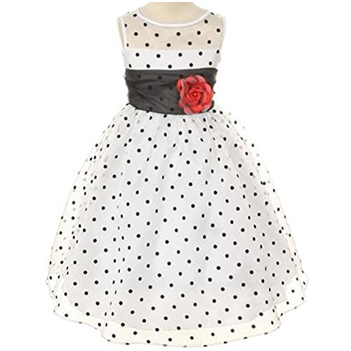 Big Girls Lovely Polka Dots Organza Sheer Illusion Dress White Black - Size (Girls In Sheer Dresses)