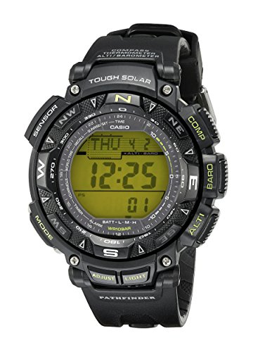 Casio Men's PAG240-1BCR Triple Sensor Solar Pathfinder Green Digital Resin Strap, Black