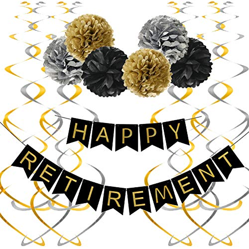 Happy Retirement Decorations (Famoby Happy Retirement Banner with Pom Poms Hanging Swirls Streamers Set for Retirement Party)