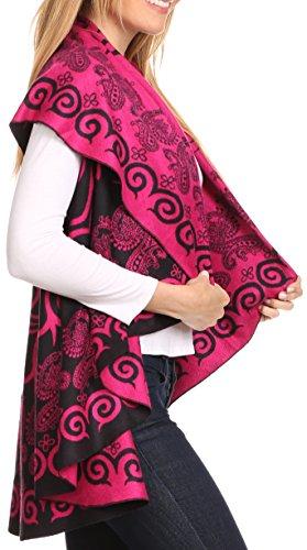 Sakkas Balie Reversible Printed Mid Gewicht Warm Poncho Werfen Schal / Cardigan Rose / Schwarz nPcV3nsD