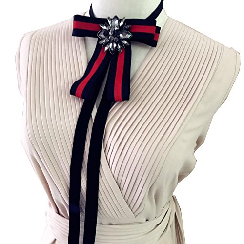 Crystal Necktie Tie (Rhinestore Crystal Dangle Wedding Party Bow Tie Women/Men Ribbon Pre Tied Neck Tie Adustable Brooch Pin Clip (Black))