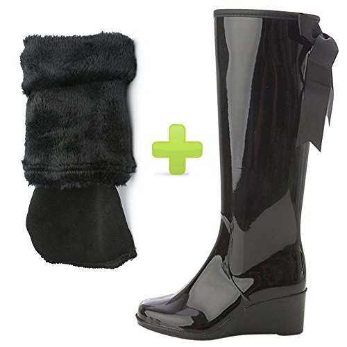 Boots Black with Heel Wedge Priting fereshte Zipper Women's Fleece Fleece Attached Bow Lining Side Rain Waterproof wxqPq67F