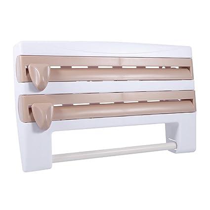 Multifunción dispensadores de rollo de papel de cocina, con corte de dispositivo, puede colocar
