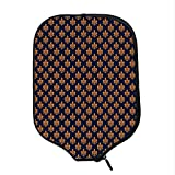 YOLIYANA Fleur De Lis Durable Racket Cover,Victorian Floral Pattern of Orange Color and Curly Ornaments Gothic Era Decorative for Sandbeach,One Size