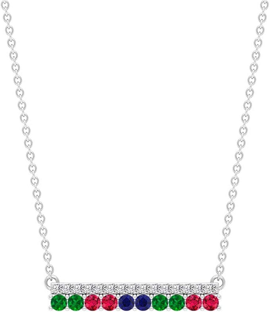 Colgante de barra de esmeralda rubí, certificado SGL 0.12 ct de diamantes, colgante de gota de zafiro azul, colgante de boda de dama de honor, colgante de promesa