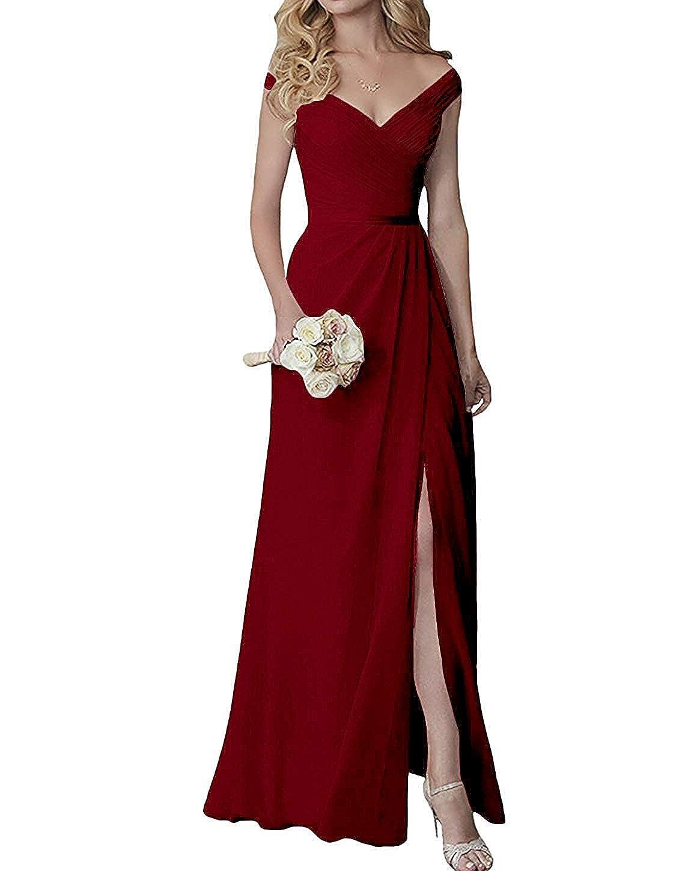 Dark Red EllieHouse V Neck Slit Long Bridesmaid Dress Formal Evening Gown