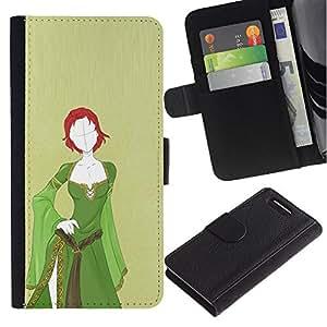 [Neutron-Star] Modelo colorido cuero de la carpeta del tirón del caso cubierta piel Holster Funda protecció Para Sony Xperia Z3 Compact [Green Medieval Dress Redhead Girl Spooky]