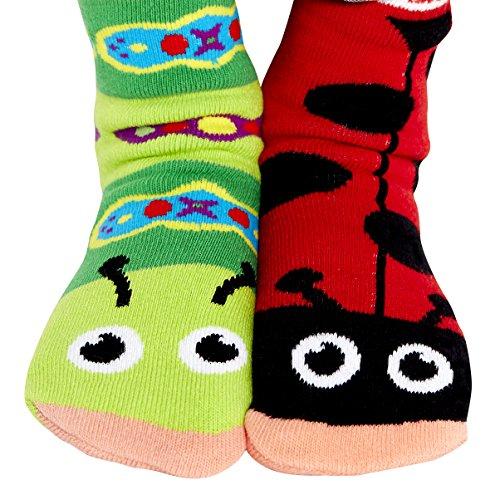 Ladybug & Caterpillar Garden Critter Bug Pals Mismatched Socks for Kids Boys Girls with Nonskid No Slip Grips (Age 4-8)